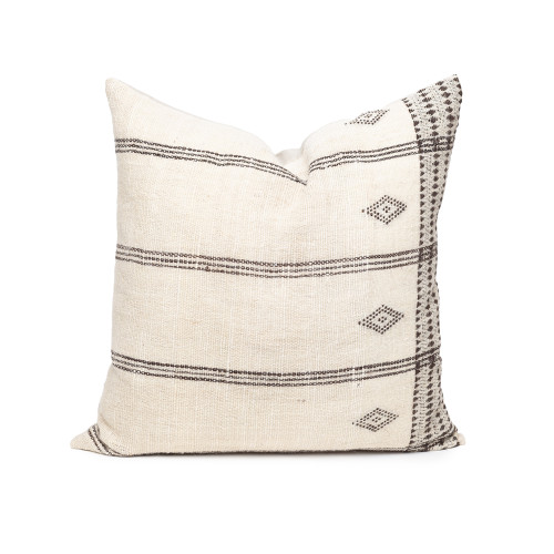 Beck Handspun Indian Wool Ivory and Brown 24 inch Pillow - Front