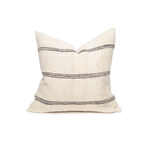 James Handspun Indian Wool Ivory and Expresso Stripe 20 inch Pillow - Front