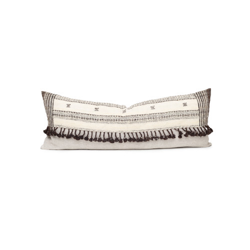 Julia Indian Ivory Wool Expresso Tassel Lumbar Pillow - Front