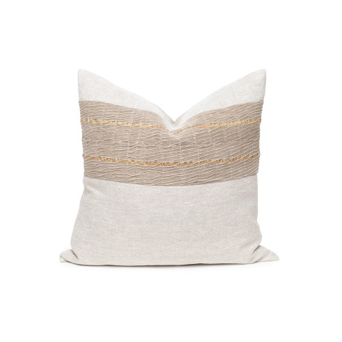 Belle Aso Oke Taupe Metallic Stripe Natural Linen Pillow - Front