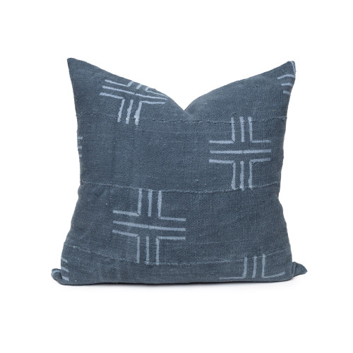 Liam Mud Cloth Pillow in Steel Blue - Front