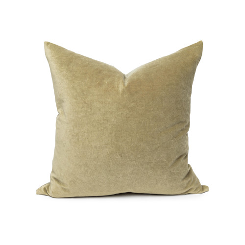 Sophie Olive Jade Green velvet decorative pillow - front