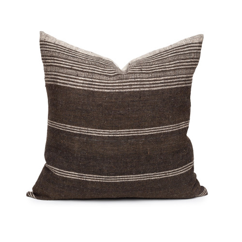 Trevor Handspun Indian Wool Ivory and Brown 24 inch Pillow - Front