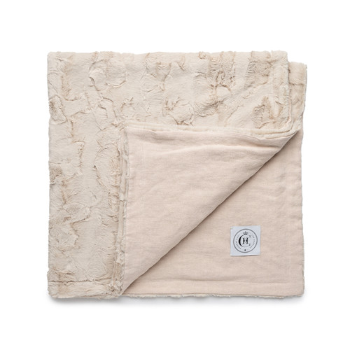 Icon Lap Blanket  - Ivory Linen and Vegan Faux Fur Blanket Made in the USA