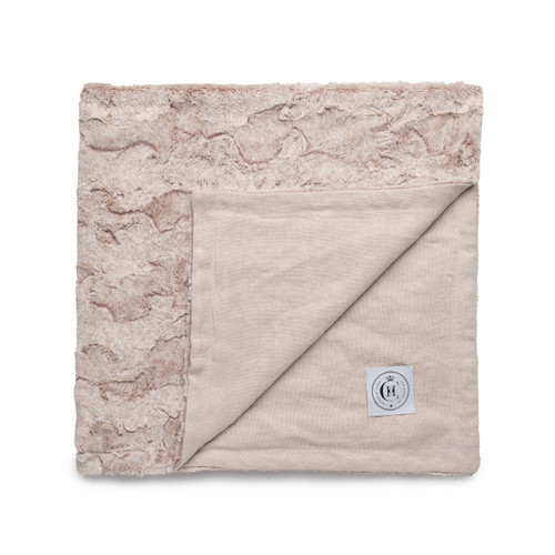 Icon Lap Blanket  - Blush Linen and Pink Vegan Faux Fur Blanket Made in the USA - Whisper