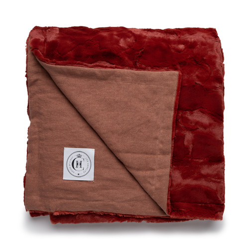 Icon Blanket  - Bark Linen and Garnet Vegan Faux Fur Blanket Made in the USA - Garnet