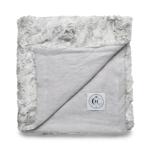 Icon Blanket  - Mist Linen and Cozy Granite Vegan Faux Fur Blanket Made in the USA