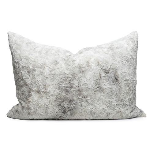 Charlotte Gray Vegan Faux Fur Pillow Cozy Granite - Front