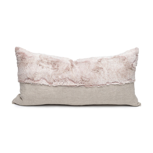 Fable Blush Vegan Faux Fur Lumbar Pillow  - Front