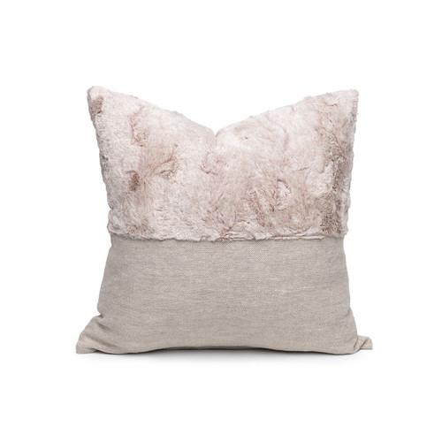 Faux Blush Vegan Faux Fur Lumbar Pillow  - Front
