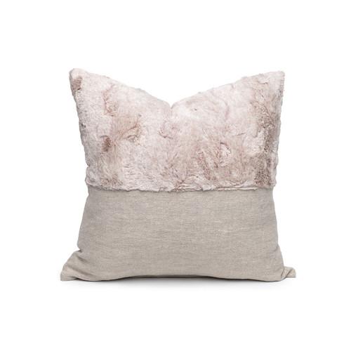 Faux Blush Vegan Faux Fur Lumbar Pillow  - Front