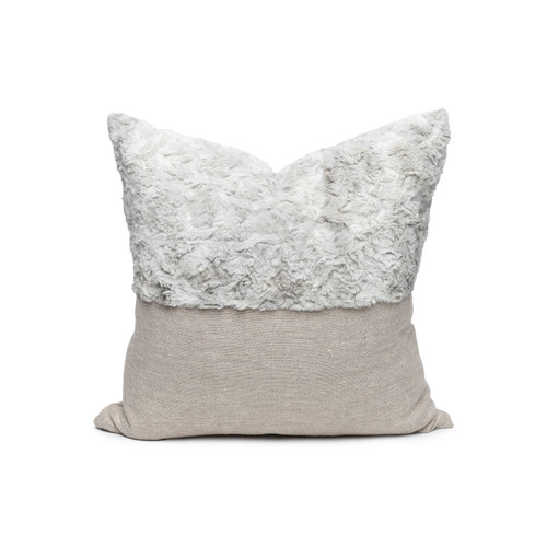 Faux Gray Cozy Granite Vegan Faux Fur Lumbar Pillow  - Front