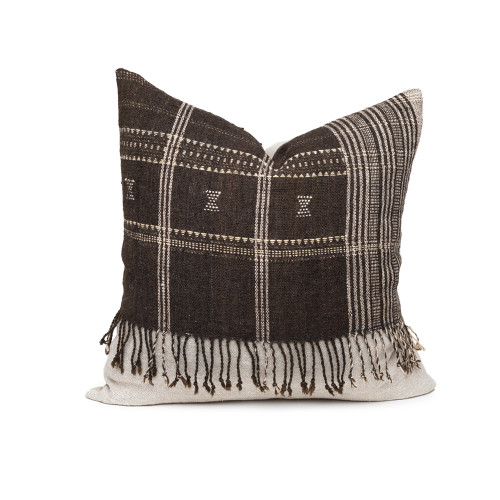 Morgan Handspun Indian Wool Earth and Ivory Woven Stripe 22 inch Pillow - Front