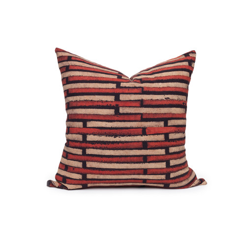 Lon Ikat Black and Brick Pillow - Front