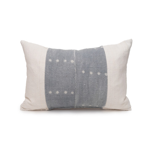 Aris Lumbar Blue Mud Cloth Pillow - 1420 - Front View