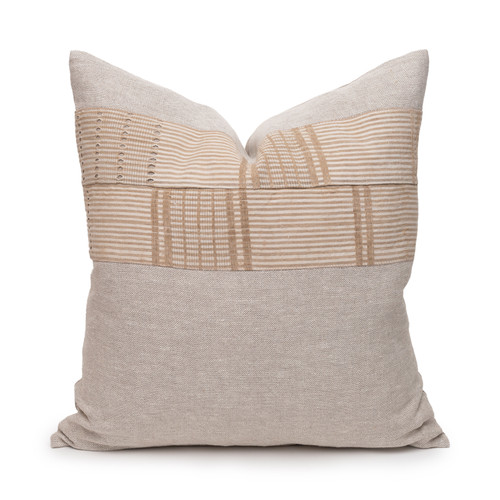 Desert Sand Aso Oke Luxe Vintage Pillow - 22 - Front