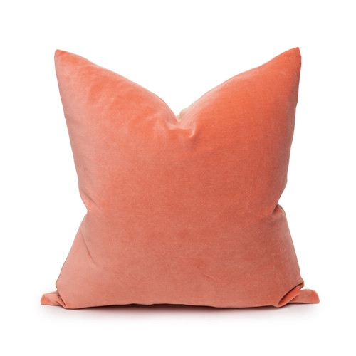 Sophie Coral Velvet Decorative Pillow - Front