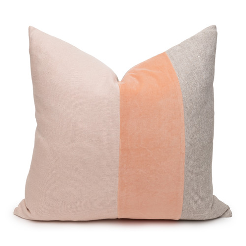 Celine Rose Quartz Linen Velvet Pillow - Front