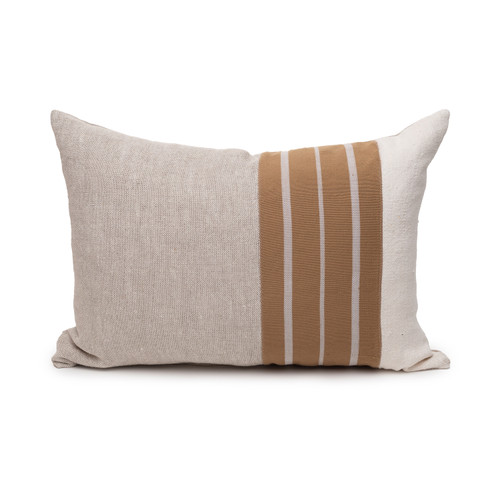 Mojave Natural Linen Aso Oke Luxe Vintage Lumbar Pillow - 16 x 22 - Front