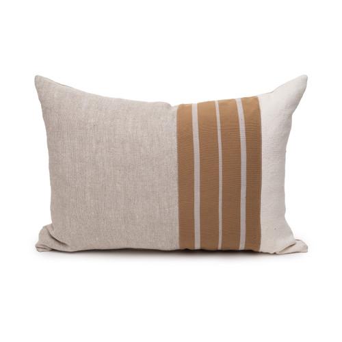 Mojave Natural Linen Aso Oke Luxe Vintage Lumbar Pillow - 16 x 22 - Front