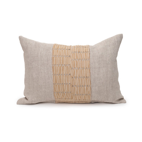 Christy Natural Linen Aso Oke Luxe Vintage Lumbar Pillow - 14 x 20- Front