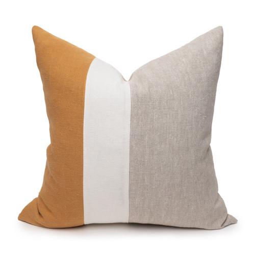 Hampton Dijon Mustard, White Mud Cloth, Natural Linen Pillow - 22 -Front