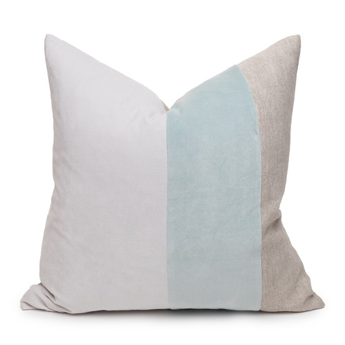 Celine Aqua and Mist Linen Velvet Pillow - Front