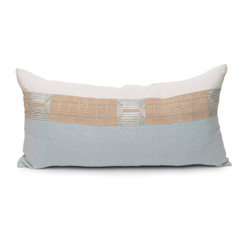 Sea Spray Lumbar Aqua Linen and Mud Cloth Pillow - 1427 - Front View