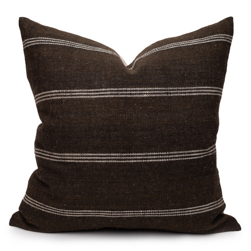 James Handspun Indian Wool Ivory and Brown 24 inch Pillow - Front