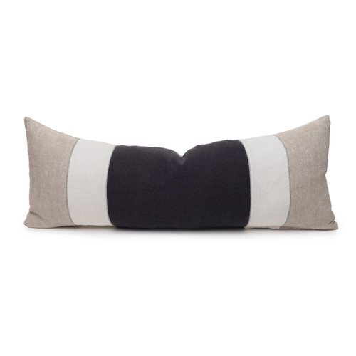 Hampton Carbon and Natural Linen Lumbar Pillow - 14 x 36  - Front