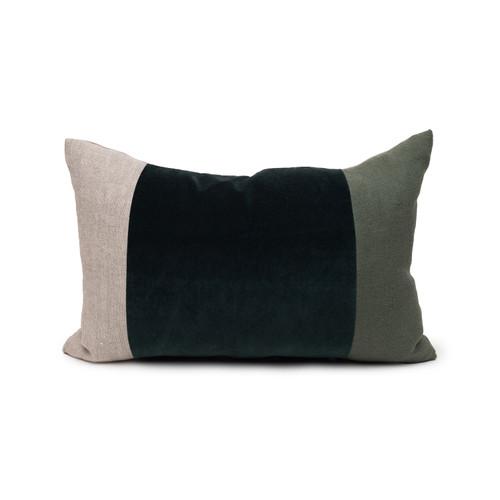 Celine Green Tourmaline Linen Velvet Lumbar Pillow - 14 x 20 Front