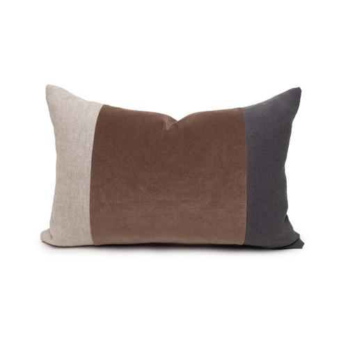 Celine Smokey Quartz Linen Velvet Lumbar Pillow - 14 x 20 Front