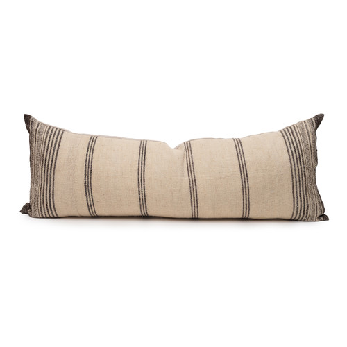 Chester Handspun Indian Wool Ivory and Brown stripe 14 x 36 inch Lumbar Pillow - Front