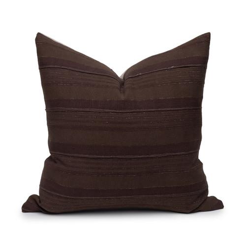 Brew Pillow Vintage Aso Oke textile in Espresso - Front View