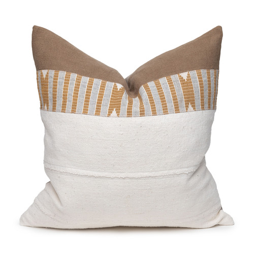 Chava Pillow - Aso Oke Natural Linen Pillow with Mud Cloth- 22 - Front View