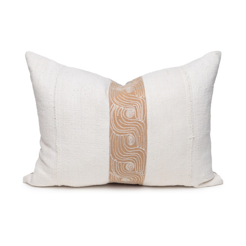 Swirl Lumbar Pillow - Aso Oke Natural Linen Pillow with White Mud Cloth- 1622 - Front View