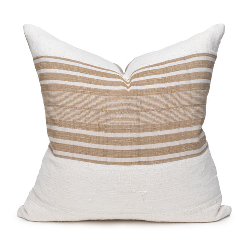 Trek Pillow - Aso Oke Natural Linen Pillow with White Mud Cloth- 22 - Front View