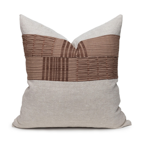 Umber Natural Linen and Aso Oke Pillow - 22- Front View