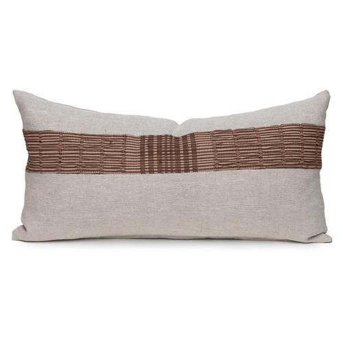 Umber Lumbar Natural Linen and Aso Oke Pillow - 1427- Front View
