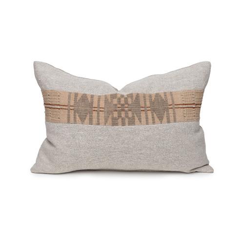 Daku Natural Lumbar Linen and Aso Oke Pillow -  Front View