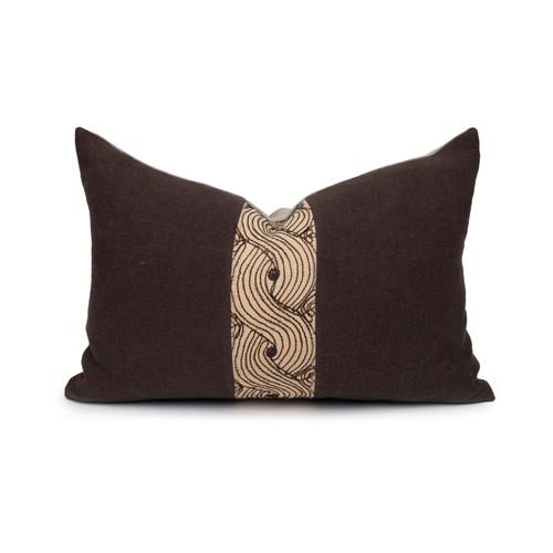 Mona Lumbar Pillow Vintage Aso Oke textile in Espresso - 1420- Front View