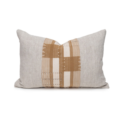Olive Lumbar Natural Linen and Aso Oke Pillow - 1420- Front View