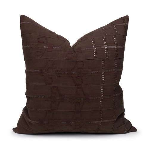 Perk Pillow Vintage Aso Oke textile in Espresso - 22- Front View