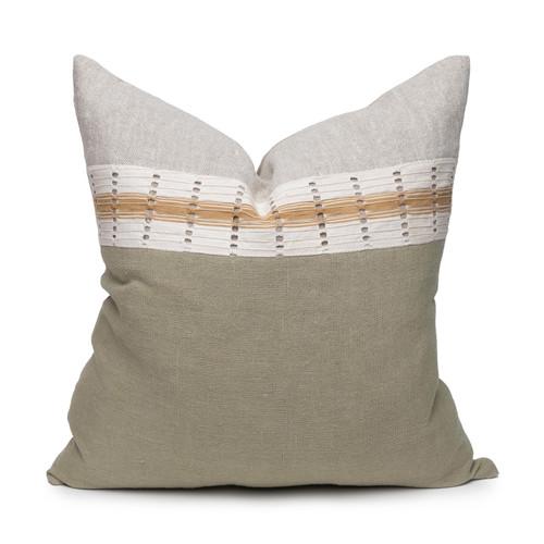 Robin Pillow - Aso Oke Jade Linen Pillow  22 - Front View