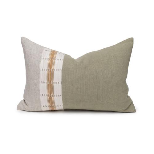 Robin Lumbar Pillow - Aso Oke Jade Linen Pillow - 1420 - Front View