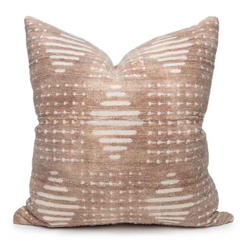 Ridge Mud Cloth Pillow in Taupe - 24-  Front View