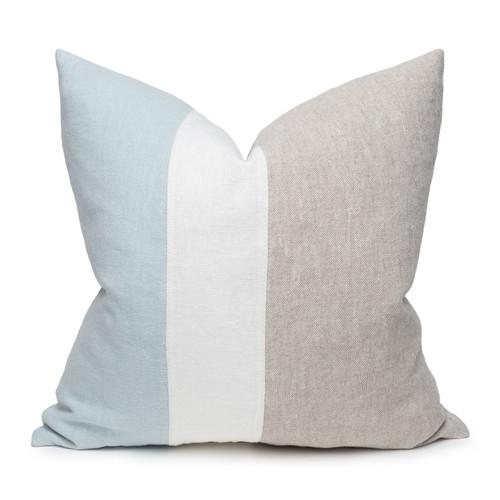 Hampton Aqua, White Mud Cloth, Natural Linen Pillow - 22 -Front View