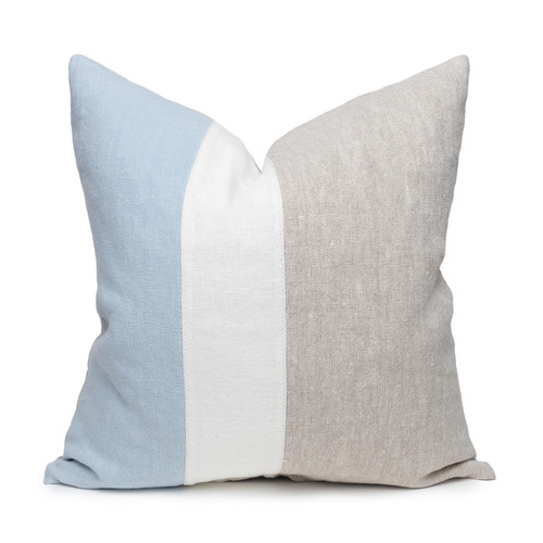 Hampton French Blue, White Mud Cloth, Natural Linen Pillow - 22 -Front View