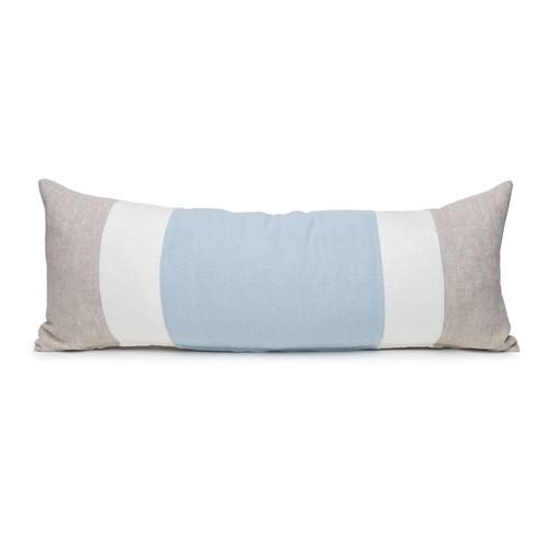 Hampton French Blue and Natural Linen Lumbar Pillow - 14 x 36  - Front View