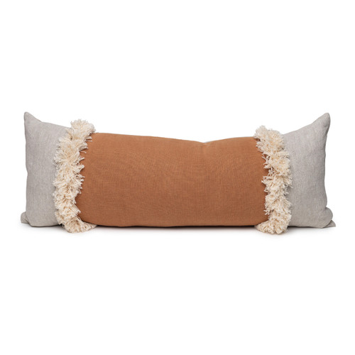 Muse Linen Lumbar Fringe Pillow in Sunstone- 1436- Front View